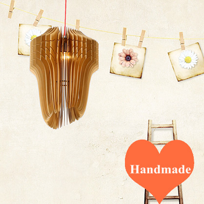 Modern novelty rural handmade Ply-Wood chips Chandelier E27 LED lamp indoor lighting for porch&stairs&corridor&pavilion BT267 2016 creative novelty blue shade ply wood chips chandelier e27 led floral lamp indoor lamp for stairs