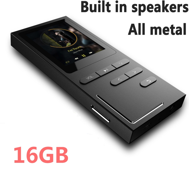 Lettore MP3 Hi-Fi 8G / 16G Lossless Music Player 70 ore di riproduzione Altoparlante incorporato Registratore vocale / radio FM espandibile fino a 64 GB