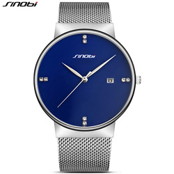 SINOBI Slim Mens Watches Top Brand Luxury Calendar Date Clock Wristwatch Ultra Thin Stainless Steel Band Man Quartz Geneva Watch