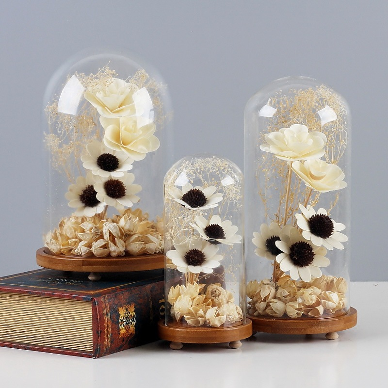 Garden Miniatures Glass Cover Micro landscape Home Accessories Glass Crafts Seal Flower Vase Ornaments Home Decor Gifts