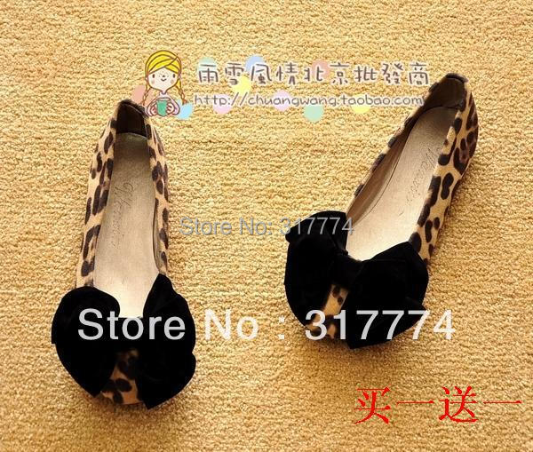 2015 shoes women Free shipping Lady leopard head shoes new single bowknot shoes pointed flat flat heel women shoes