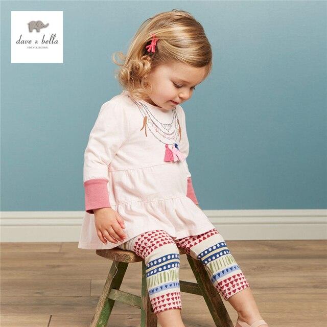 DB3765 дэйв белла осень новорожденных девочек ожерелье печатных комплектов одежды ребенок мода набор детской одежды дети устанавливает детские костюмы