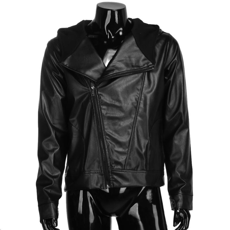 Zipper Hooded Men's Jacket PU Leather Motorcycle Jacket Men ...