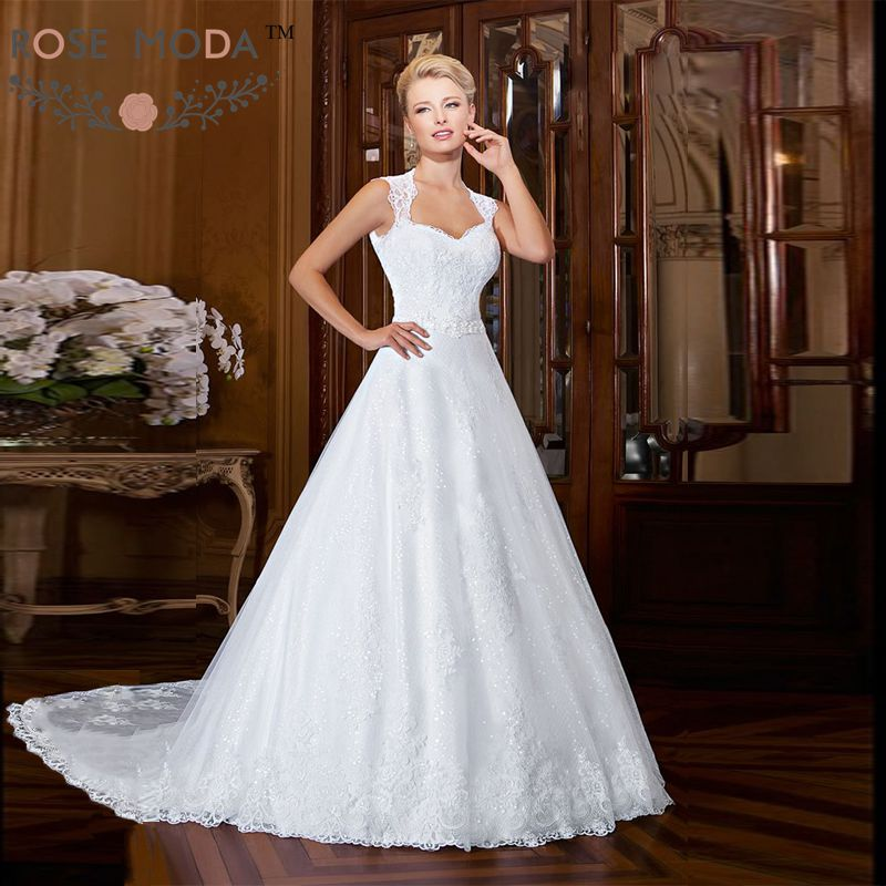 Keyhole Wedding Gowns: Gorgeous Keyhole Back Lace A Line Wedding Dress With