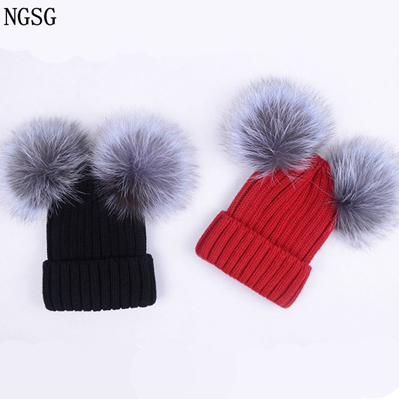 Apparel Accessories Alert Ngsg Winter Detachable Fur Pom Pom Beanie Cap For Teens Boy Unisex Cute Ski Skull Childs Caps Female Winter Fleece Knit Hat A Wide Selection Of Colours And Designs