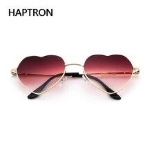 HAPTRON fashion Heart Shaped Sunglasses women metal clear red lens glas