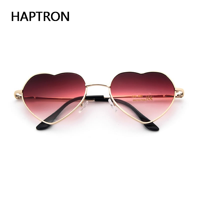 HAPTRON Fashion Heart Shaped Sunglasses Women Metal Clear Red Lens Glasses Fashion Heart Sun Glasses Mirror Oculos De Sol