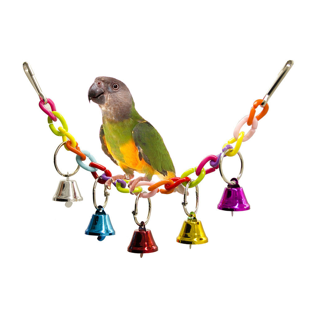 32cm Acrylic Pet Parrot Toys Bird Bell Ringer Hanging Swing Cage Toys For Parrot Cockatiel Parakeet Pet Bird Supplies