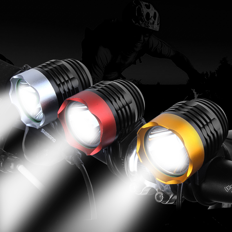 DEROACE 2000 Lumens XM-L T6 LED Bicycle Headlight Waterpoof Bike Light Lamp Cycling USB Bike Bicycle Front Light 3 Colors 3 mode