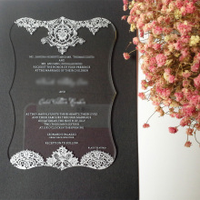 Customized 4.75*6.75 inch Clear acrylic pocket wedding invitation card printing letters 3mm thickness(1lot=100pcs)