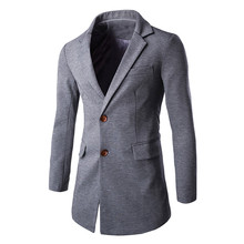 Casual Solid Color Outwear Single Breasted Long Section Slim Fit Blazer Men Suit Blazer 2016 Brand Fashion Turn Down Collar