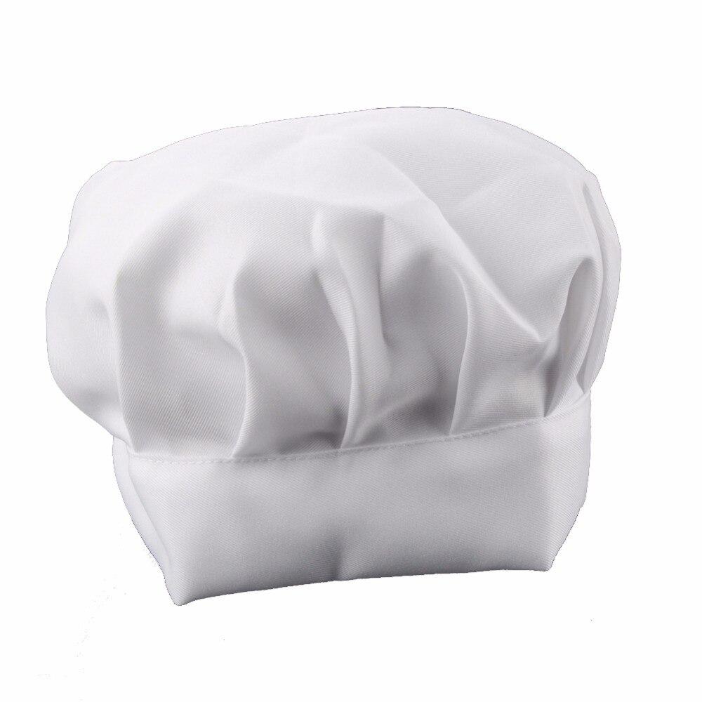 1Pcs Unisex Party Kitchen Costume Cap Baking BBQ Cooking Adult Elastic Chef Hat White Chef Hat Solid Color White Cap