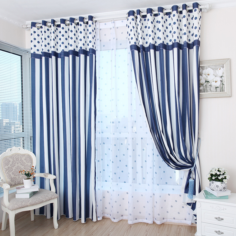 Free shipping Textiles Simple blue striped curtains