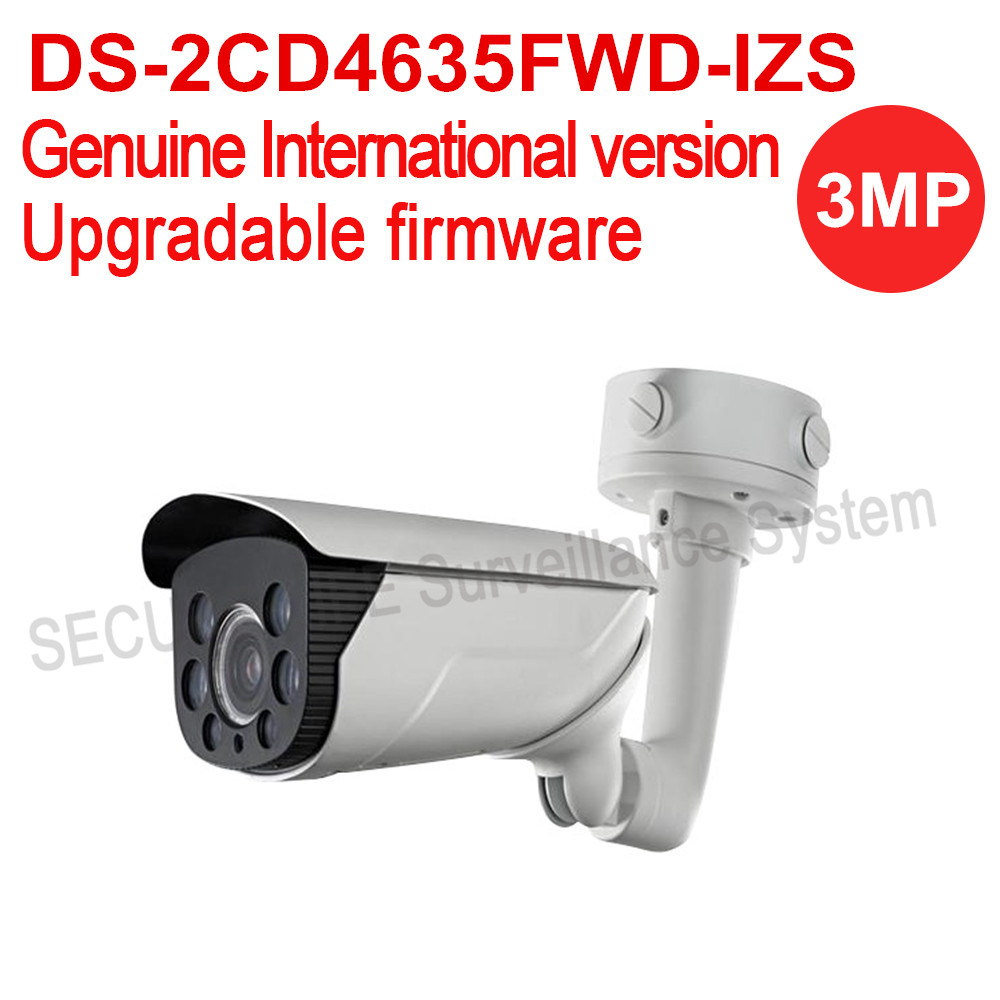 Free shipping English version DS-2CD4635FWD-IZS 3MP Smart Bullet CCTV security Camera POE, IK10, 50m IR, Vandal-proof free shipping ds 2cd4665f iz english version 6mp smart ip vandal proof bullet camera support upgrade
