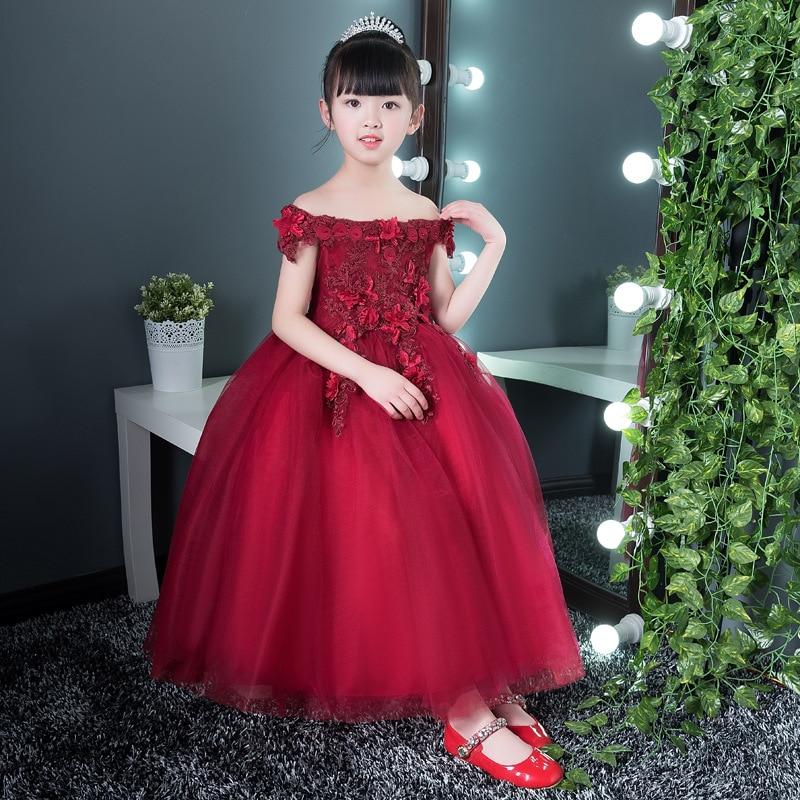 Wine Red Shoulderless Flower Girl Dresses for Wedding Appliques Long Holy Communion Dress Ball Gown Birthday Princess Dress
