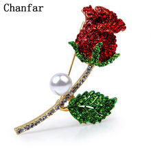 Chanfar Indah Kristal Diaspal Rose Red Flower Bros Pins Perhiasan Aksesoris Wanita Paduan Bros(China)