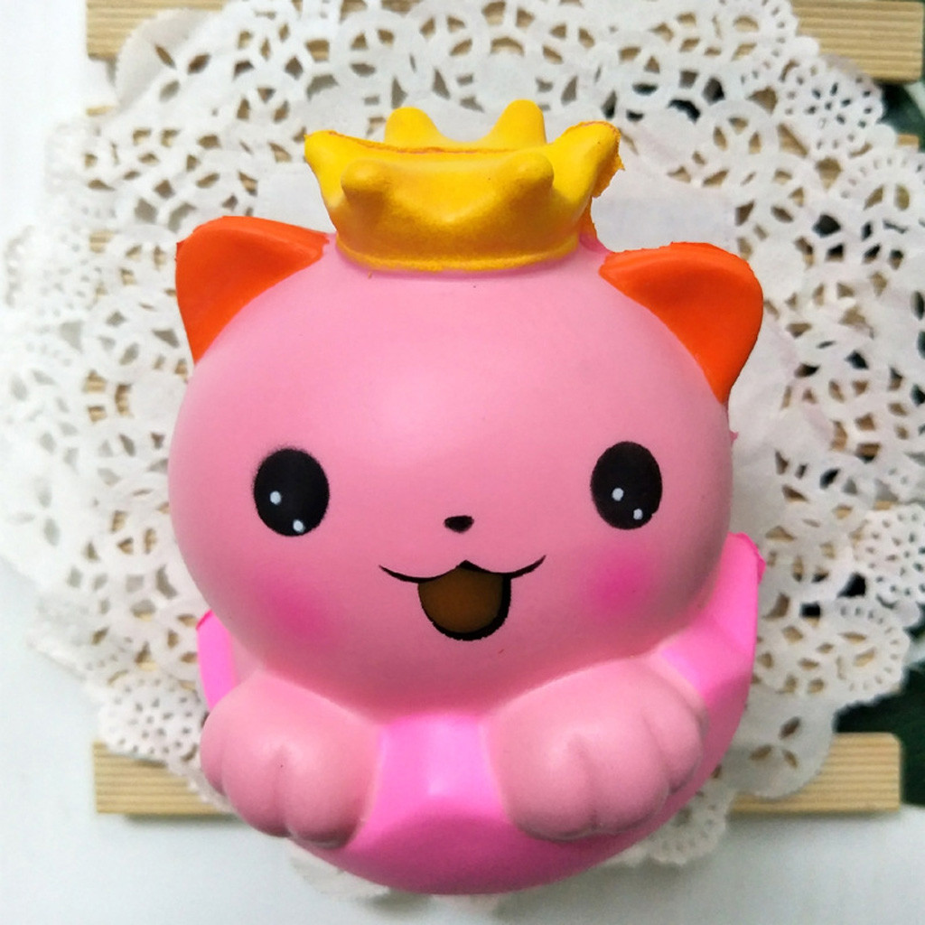 Exquisite Pink Crown Cat Super Slow Rising Toy Squishies Animals Squeeze Stress Reliever Toy Antistress сквиши антистресс