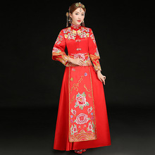Retro Dress Chinese Traditional Wedding Dress Red Bride dress Embroidery Cheongsam Women qipao Long Evening Dress Robe