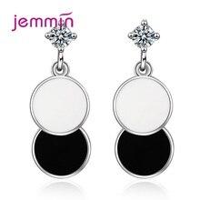 New Elegant 925 Sterling Silver Round Geometric Cubic Zircon Piercing Drop Earrings Bohemian Tassel For Women Ear Rings Jewelry