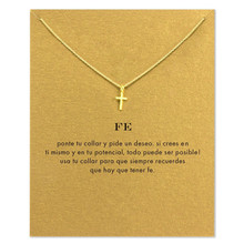 2017 Newest Small Charm Cross Necklace in Gold Silver Handmade Jewelry Wholesale Chain Cross Necklace for Girl Women Metal
