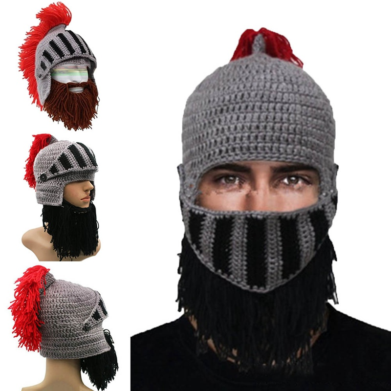 Novelty Funny Prank Beard Jazz Hat 100% Handmade Knit Crochet Wig Mask Beanie