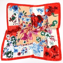 Silk Scarves for Women Print  Square Multicolor Scarf New Design Shawl Wraps Echarpe 90x90cm