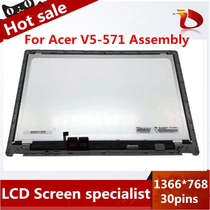 Full New Gread A+ 15.6 LCD Touch Screen Digitizer Assembly Display For Acer Aspire V5-571 V5-571P V5-571PG+Front Bezel 15 6 laptops replacement touch screen for acer aspire v5 571 v5 571p v5 571pgb without display