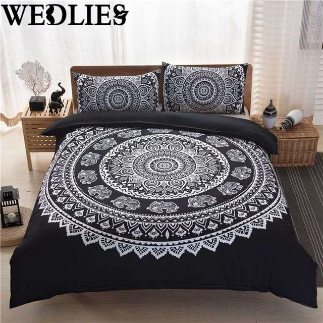 3pcs Set Indian Mandala Bedding Polyester King Size Pillowcases Quilt Cover Home Bedroom