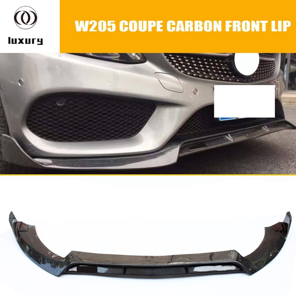 C205 Carbon Fiber Front Lip Spoiler for Benz W205 C-class Coupe C200 C300 C43 AMG With Amg Package 2 Door 2015 - 2018 ( NO C63 )