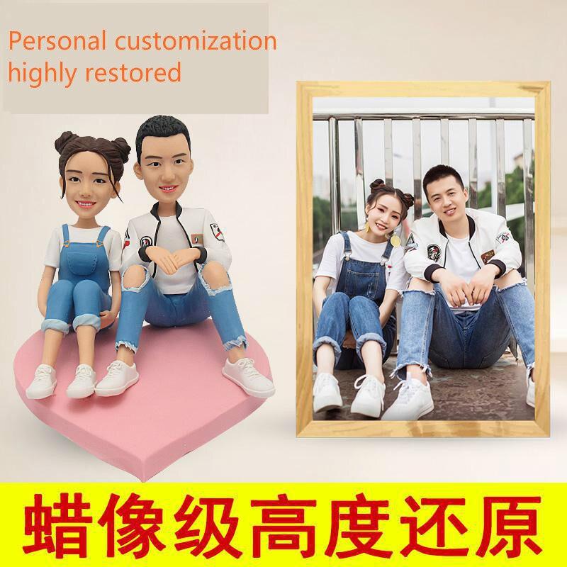 Photo personnalisation poupée de poterie douce personnalisée cire Figure argile pour travaux pratiques Figurine anniversaire mariage cadeau traditionnel chinois artisanat