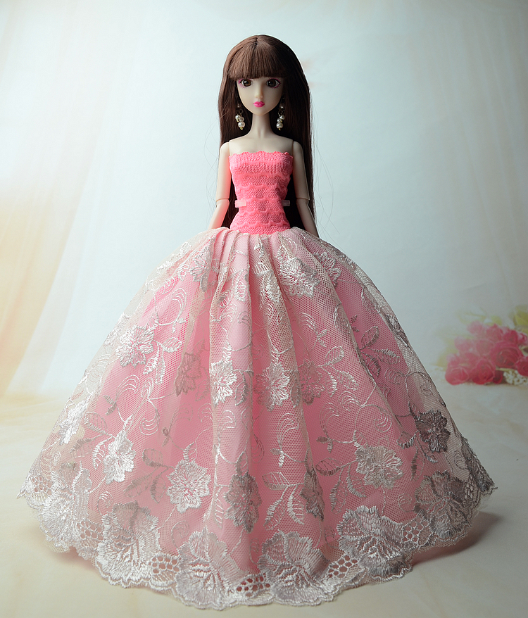 NK One Pcs Princess Doll New handmake wedding Dress Fashion Clothing Gown For Barbie Hot Dolls Accessories Best Gift 067D 2016 hot now fashion original edition sofia the first princess doll vinyl toy boneca accessories doll for kids best gift