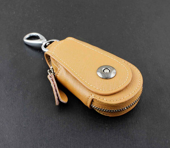 Details about Genuine Leather Wallet Mens Womens Key Rings Holder Chain Wallet Case Khaki KW4