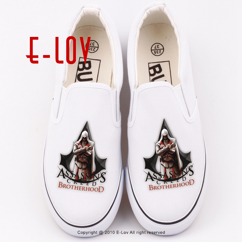 Printed Assassins Creed Hip Hop Rock Casual Shoe 2017 Canvas Shoes Women Plus Size Casual Shoes Flats Hip Hop Streetwear Loafers