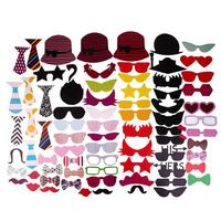 76pcs Glasses and Mustache Type Photo Prop Decal Party Birthday Wedding Decoration Photo Booth Funny Party Supplies
