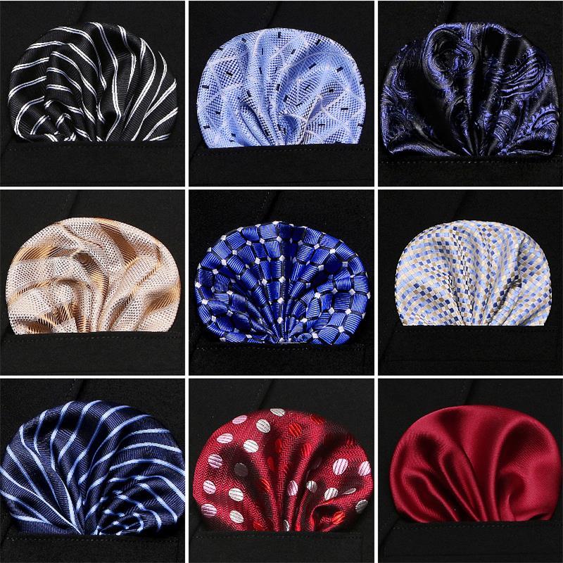 New Men's 100% Silk Handkerchiefs Floral Dots Stripes Checks Pocket Squares For Suits Jackets Wedding Party Business