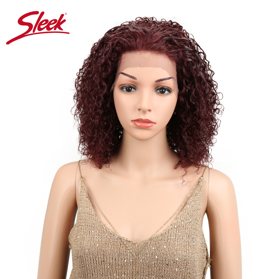 Sleek Brazilian Lace Front Human Hair Wigs For Black Women Kinky Curly Wig Remy Hair Wigs Color 99J/F1B/99J Free Shipping