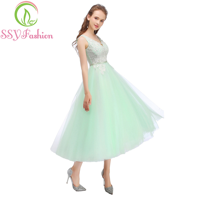 Clearance SSYFashion Sweet Light Green Bridesmaid Dresses V-neck Sleeveless  Lae Tea-length Banquet Party Gown Graduation Dress 1179f5bed894