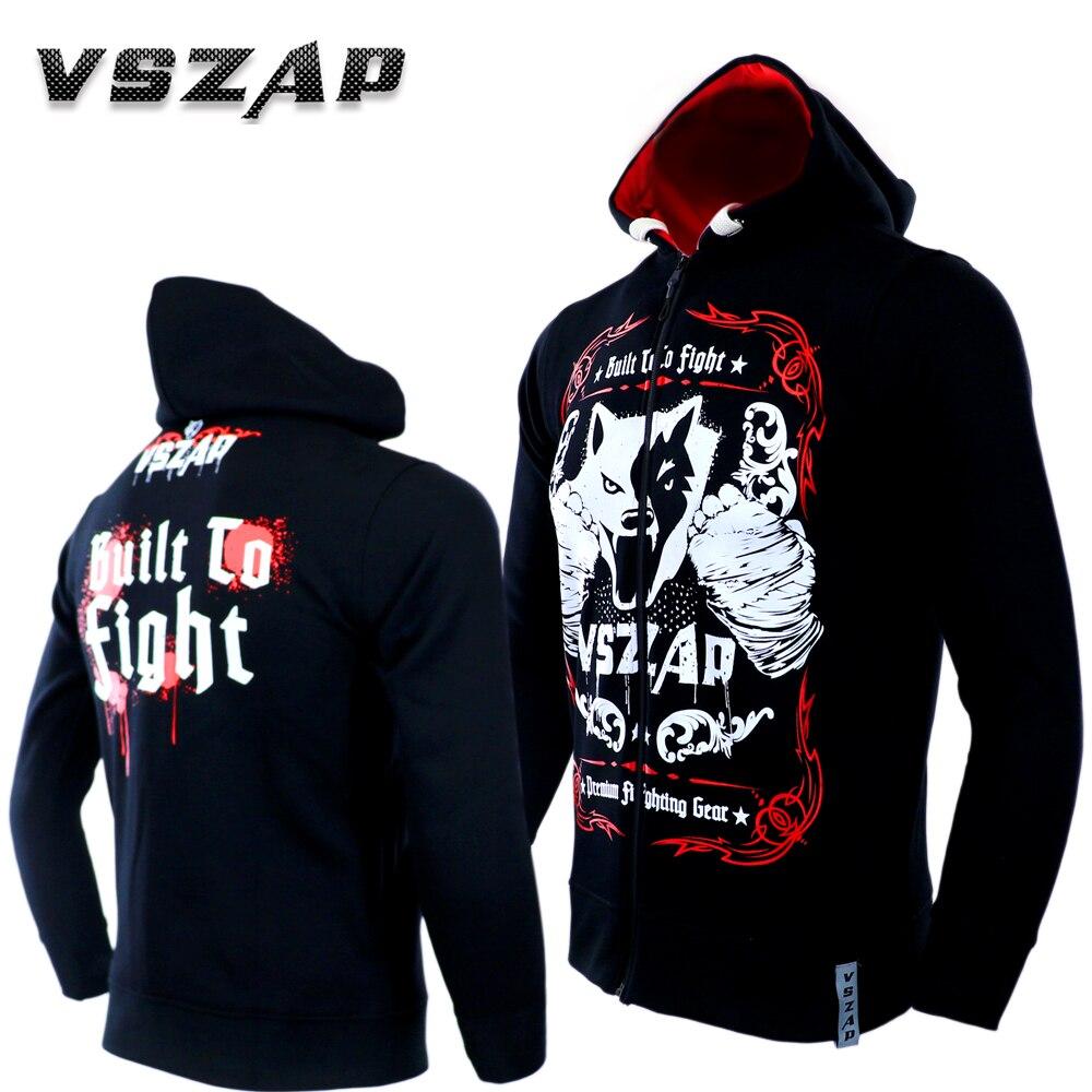Boxing Jersey Long Sleeve Zipper Hoodie Coat Muay Thai Fitness Gym Fleece Sweatshirts Street Leisure Thicker Plus Size S-4XL