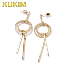 Xukim Jewelry Elegant Trendy Simple Design Geometric Round Hoop Strips Gold Color Drop Dangle Earrings Gift Party Women