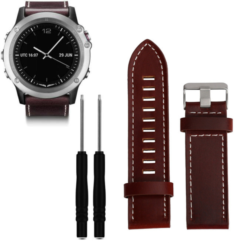 Excellent Quality 22mm Strap Replacement For Garmin Fenix 3 Leather Watchband Luxury Leather Strap For Fenix 3 Watch band