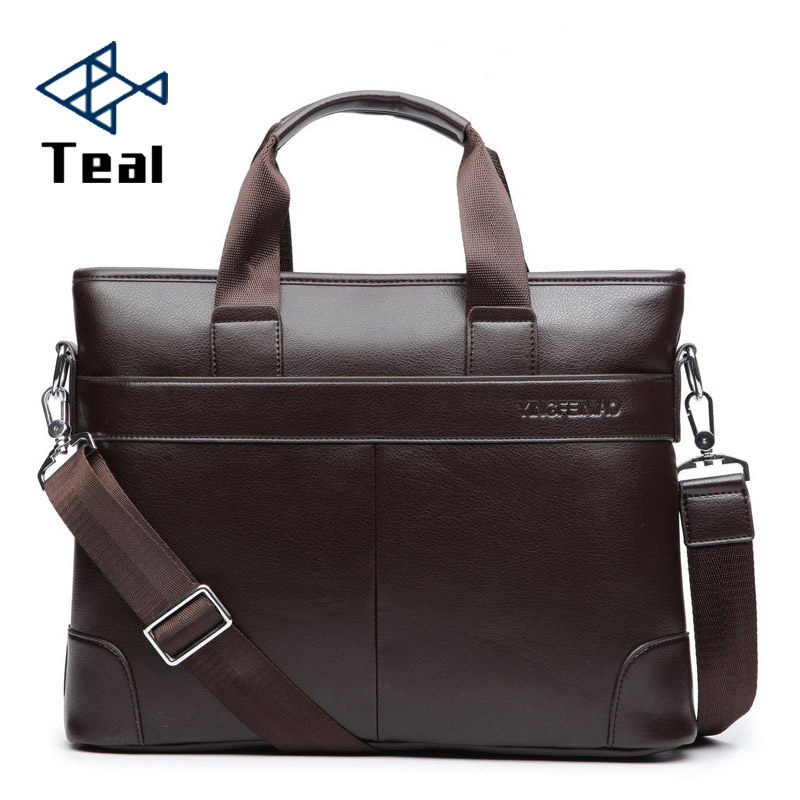 2019 Men's Business Black Casual Bag pu leather Briefcase men's Tote bags Brown High quality male Business large capacity(China)