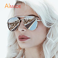 Aimade 2016 New Oversized Flat Top Aviation Sunglasses Women Men Fashion Brand Designer Driving Big Frame Mirror Sun Glasses
