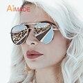 Aimade 2016 Nova Oversized Flat Top Aviação Óculos De Sol Dos Homens Das Mulheres de Marca Designer de Moda Moldura de Espelho de Condução Grandes Óculos de Sol