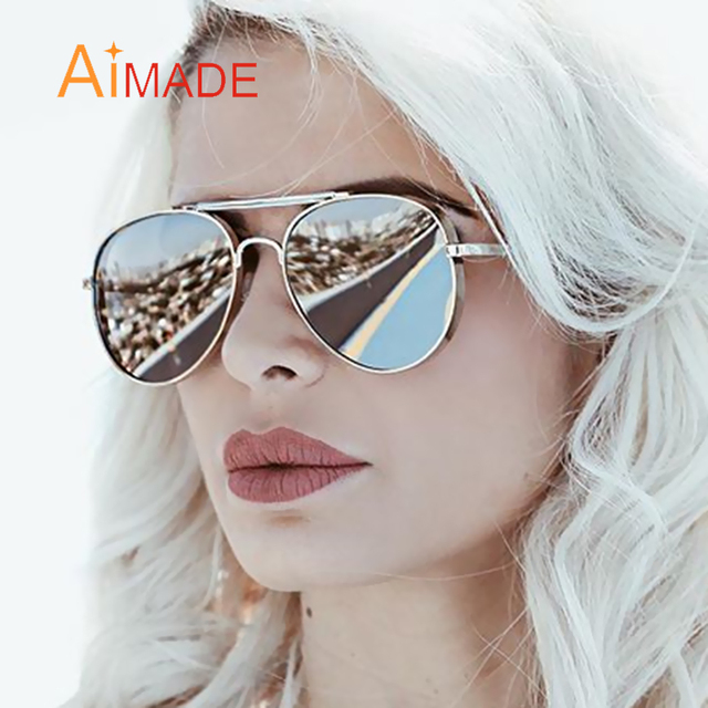 9f8f8ccc2b Aimade 2018 New Oversized Flat Top Aviation Sunglasses Women Men Fashion  Brand Designer Driving Big Frame Mirror Sun Glasses