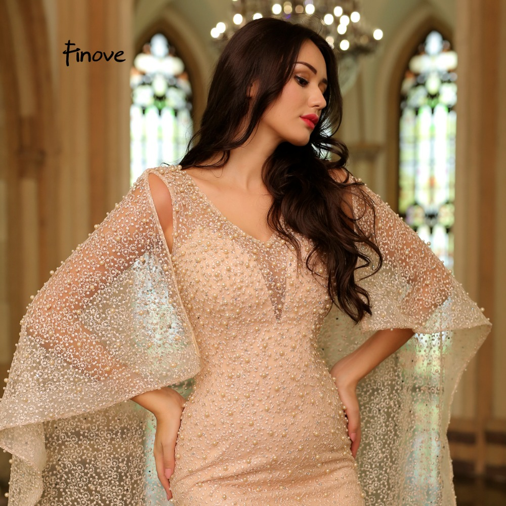 Image 3 - Finove Champagne Vintage Mermaid Evening Dress 2020 New Arrivals Pearls Embroidery Dress With Cloak Elegant Woman Party DressEvening Dresses   -