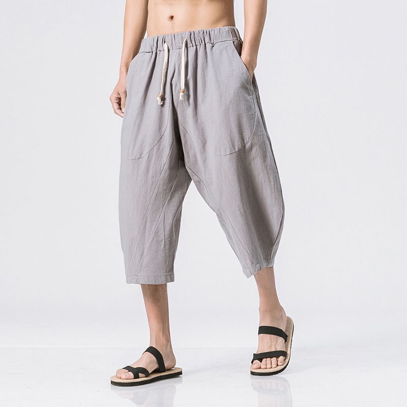 Casual Mens Pants Cotton Linen Elastic Waist Drawstring Calf Length Loose Baggy Trousers HipHop Harem Pants Casual Mens Pants Cotton Linen Elastic Waist Drawstring Calf Length Loose Baggy Trousers HipHop Harem Pants Pantalon DA067