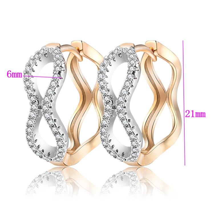 2017 nye guldfarve store øreringe til kvinder Aros Crystal Zircon - Mode smykker - Foto 2