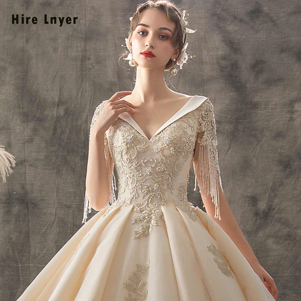 Đầm Vestido De Noiva Princesa 2020 Tự Làm Cổ Chữ V Phối Ren Chiếu Trúc Hạt Kim Sa Lấp Lánh Vàng Appliques Bầu Áo Cưới Bruidsjurk