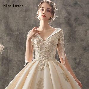 Image 4 - Женское свадебное платье, бальное платье с v образным вырезом, украшенное бусинами и блестками, с золотистой аппликацией, 2020