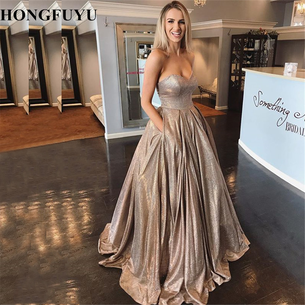 HONGFUYU Glitter Stretch Ball Gown Prom Dresses Sweetheart Gorgeous Party Formal Dress Festa Evening Gowns Lace Up Corset Longo
